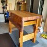 Amiad Dvir- Wanted to build a proper workbench. ended up making something that is much more complicated than intended ... laminated the whole top section and aprons .. I like how it came out