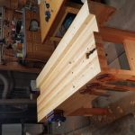 """Martin Ridge- Used as much repurposed stock as possible, 40+ year old 4x6 fir beans for the legs and a few old 2x4s for the top mixed with new pine. 1"""" taller and longer than plan. I made the tool well narrower to allow a 2nd work surface on the outer side that works with my shop layout. Phase 0 was refurbishing my uncles old Stanley planes (4&6) so thanks for that video as well!"""